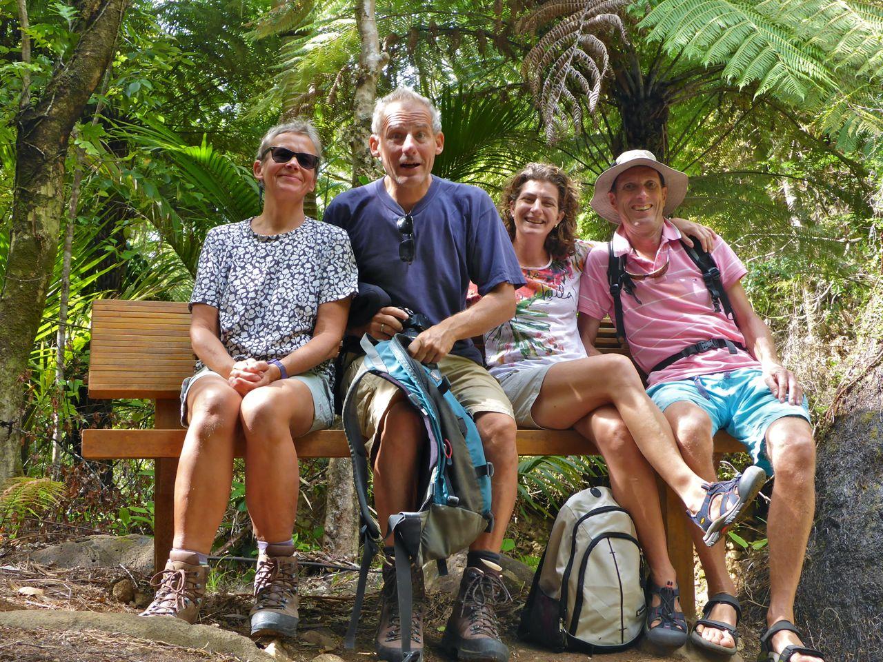 Samen met onze vrienden op Great Barrier Island