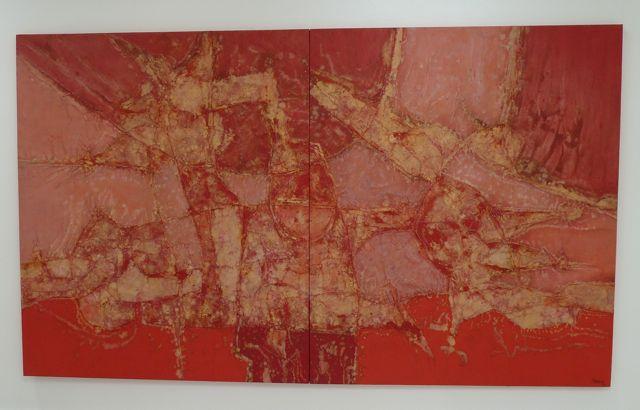Een van zijn kunstwerken op doek