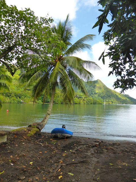 Onze trouwe dinghy ligt braaf aan ons te wachten, vastgebonden aan een palm