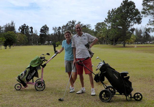 Wauw, weer eens op een golfbaan, we waren er de enigen!